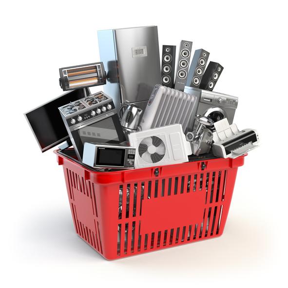 Basket full of electronics